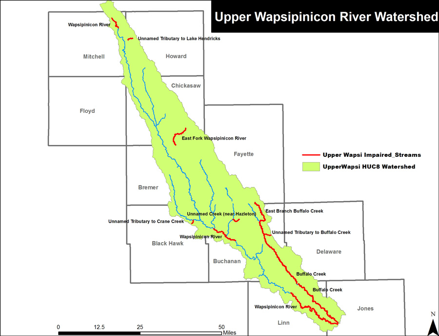 Impaired Streams in the Wapsipinicon River Watershed